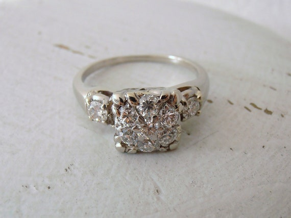 Reserved for Michelle R, first payment, Vintage 14k Diamond Engagement Ring