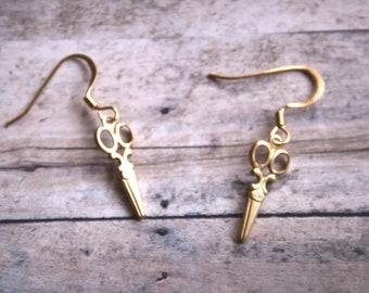 Small Golden Scissor Dangle Earrings