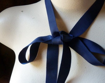 July 4th SALE 5 yds. Navy Ribbon Grosgrain for Bridal, Millinery, Bouquets, Gifts, Jewelry Supply