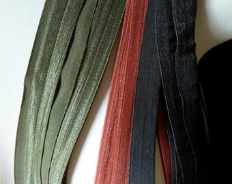 Foldover Elastic in Autumn Hues - 2 yards each of 3 colors