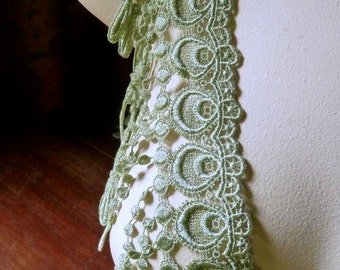 Willow Green Fringe Lace Peacock Venise Style for Bridal, Corsets, Garments, Costumes
