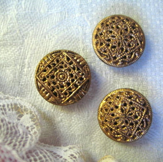 Brass Filigree Buttons Collection of 3