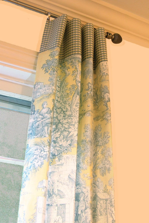Items similar to Window Panels Drapery Curtain Toile Yellow and Blue ...