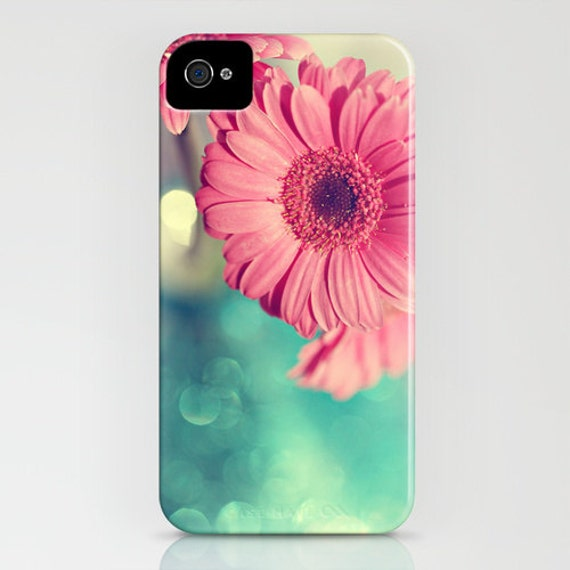iPhone 4/4s Case - Nature Photograph - Pink Gerbera Daisy - clear plastic sides flower pink pastel teal blue summer garden bright
