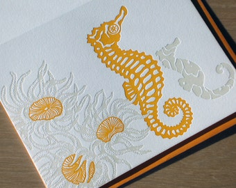 Seahorse with Super Sun Coral Letterpress Card