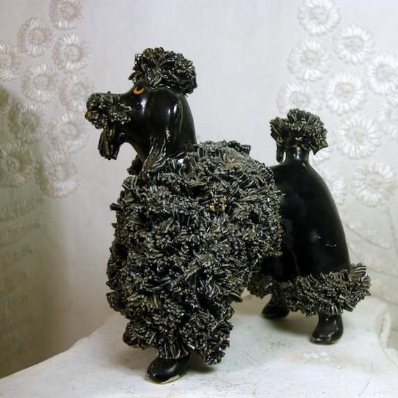 Black Poodle Porcelain Statue Kitsch Ceramic Terrier Dog