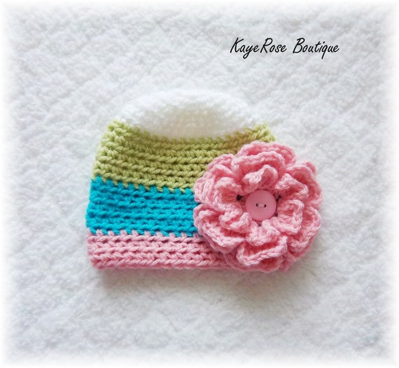 Newborn Baby Girl Striped Crochet Carnation Flower Hat Green White Pink and Blue