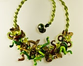 Diva Curl Lampwork in Greens and Browns, Handmade Glass Jewelry