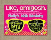 PRINTABLE 1980's themed birthday party invitation