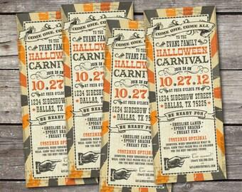 PRINTABLE 3x9 Vintage Halloween Carnival party invitation