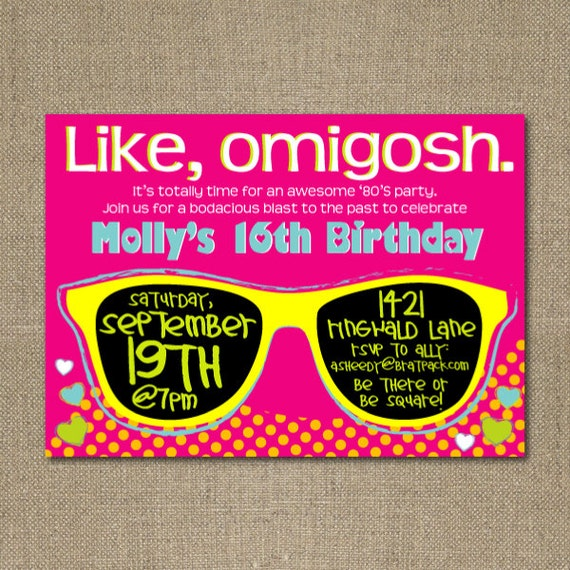 Items similar to PRINTABLE 1980's themed birthday party ...
