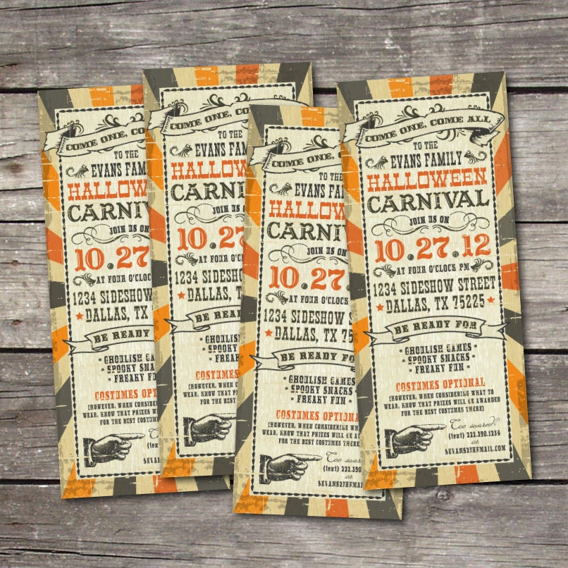 Printable 3x9 vintage halloween carnival party invitation for Vintage halloween party invitations