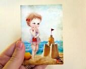 "ACEO/ATC Mini Fine Art Print ""Samantha at the Shore"" Artist Trading Card 2.5x3.5 - Lowbrow Art Little Girl at The Beach Light Blue Summer"