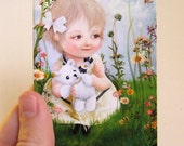 "ACEO ATC Artists Trading Card ""Lily"" Little Girl in Garden - Nursery Art- Premium Fine Art Mini Print 2.5x3.5"