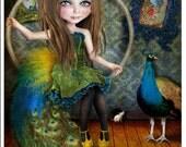 "5x7 Art Print - ""Little Bird"" - Circus Performer Girl Pretty Little Peacock - Small Fine Art Giclee Print of Digital Collage Illustration"