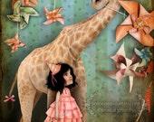 "ACEO/ATC Mini Fine Art Print - ""Forever Friends"" - Artist Trading Card 2.5x3.5 - Cute Little Girl and Pet Giraffe - Fantasy Bedroom Art"