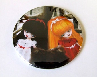 """Pocket Mirror """"Snow White and Rose Red"""" 2 1/4"""" Round Mirror - Fairy Tale Illustration Fantasy - Two Little Girls"""