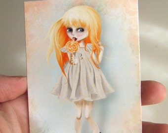 "ACEO/ATC Mini Fine Art Print ""Emmaline"" Artist Trading Card 2.5x3.5 - Lowbrow Art Orange Haired Girl - Artwork by Jessica Grundy"