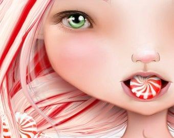 "5x7 Art Print - ""Peppermint"" - Christmas Holiday Red and White Candy Cane Girl - Small Giclee Print by Artist Jessica Grundy"