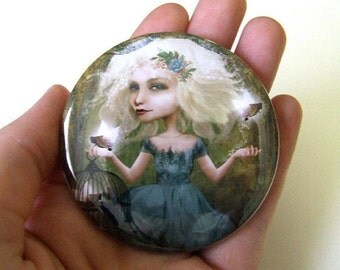 Pocket Mirror 'If You Love Them, Set Them Free' - Small Round Mirror Featuring Original Jessica Grundy Artwork