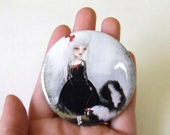 Take Warning Pocket Mirror Made from Original Art Print with Organza Bag 2 1/4 inches