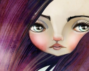 5x7 Sized Fine Art Print - 'Violet' - Small Sized Giclee Art Print by Jessica Grundy