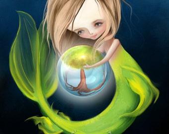 "Fantasy Fine Art Print - ""Arbor""  - Little Mermaid Girl Art -Print - Little Mermaid and Tree 8x10 or 8.5x11 - Neon Green and dark blue"