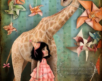 "ACEO/ATC Mini Fine Art Print - ""Forever Friends"" - Artist Trading Card 2.5x3.5 - Cute Little Girl and Pet Giraffe - Fantasy Bedroom Art"