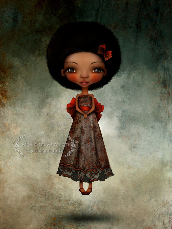 """Art Print - """"Happy Thoughts"""" - Medium A4 8.5x11 or 8x10 Giclee Fantasy Art Print - Peter Pan Inspired Little Girl - African American Girl"""