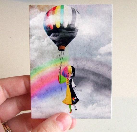 """ACEO/ATC """"Causing a Stir"""" Two Tone Rainbow, Black and White Girl Hot Air Balloon - Premium Fine Art Mini Print Artist Trading Card 2.5x3.5"""