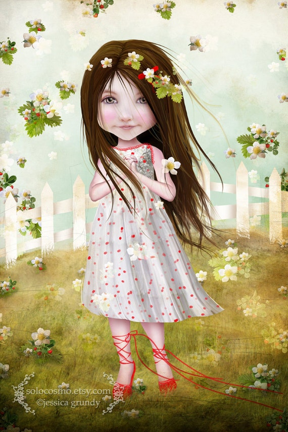 "Fine Art Print ""Annalise Lane"" 8.5x11 or 8x10  Premium Giclee Print - Little Strawberry Girl - Cute Child Print - Green Red - Nursery Art"