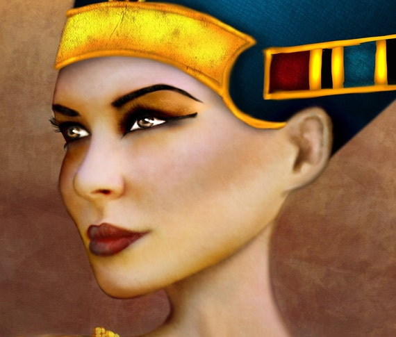 "5x7 Premium Art Print ""Nefertiti"" Small Size Giclee Print of Original Artwork of Ancient Egyptian Queen Nefertit 'Most Beautiful Woman'"