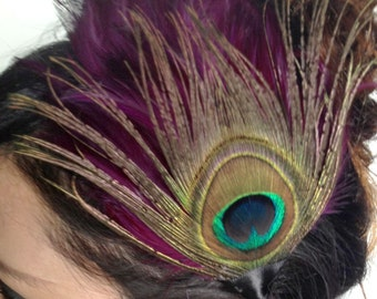 feather hair clip - eye peacock feather accessory - bohemian fascinator - bridal hair accessories for women - bridesmaid gift - CHARLOTTE
