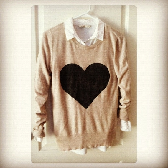 Big Love Oatmeal and black Heart Sweater hand stenciled M long OOAK upcycled