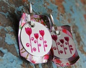 Pink, flower, earrings, anodized aluminum, and riveted to another dyed piece of aluminum with hand formed ear wires