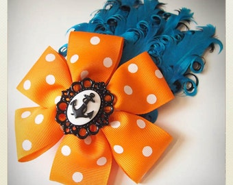 Pin Up-style orange anchor polka dot bow Fascinator with turquoise curly feather
