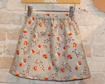 Modern A-line Skirt - Grey Vintage Floral - toddler girls clothing - fall fashion - made to order - sizes 2T 3T 4 5 6 7 8