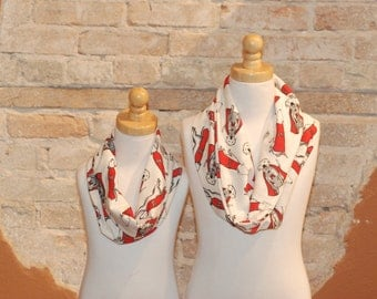 Modern Cowl Infinity Scarf Neckwarmer for Kids - Super Dog Fabric - 100% Cotton Jersey Fabric - Fall Winter Fashion Accessory