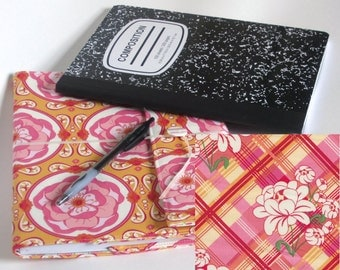 Plaid Meadow Reusable Fabric Covered Composition Book Cover - with pen and composition book, fabric covered notebook, journal