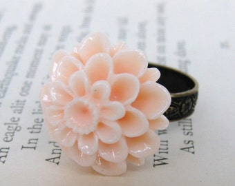 Flower Ring Vintage Peach Dahlia Antiqued Brass Cocktail Adjustable