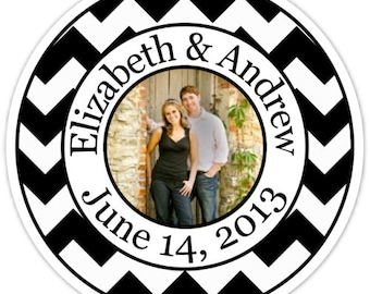 Wedding PHOTO Stickers, Chevron Labels, Chevron Wedding Stickers, Custom Bride and Groom Labels, Personalized for You