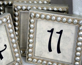 5 or 6 Silver Boules 3x3 Inch Framed Table Numbers for Weddings/Holiday/Corporate Events Numbers 1 to 5 or 6 Square Reusable Photo Frames