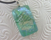 Emerald Ice Charm- Fused Glass Jewelry Handmade in North Carolina