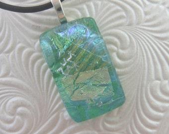 Emerald Ice Charm- Fused Glass Jewelry Handmade in North Carolina