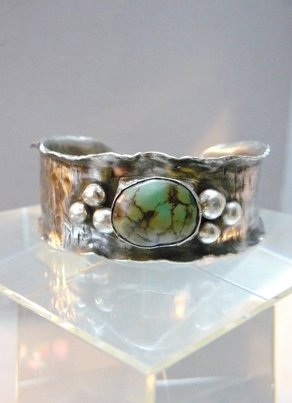 Turquoise Cuff with Nickel and Sterling Silver