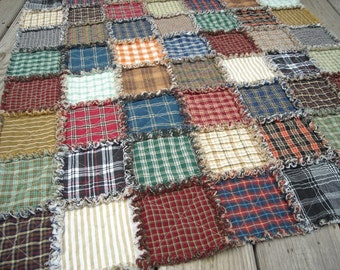 Super Plaid Rag Quilt Child or Lap size.  Baby or Crib