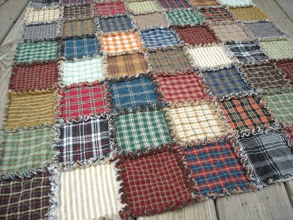 Plaid Baby Quilt: Super Plaid Rag Quilt Child Or Lap Size. Baby Or Crib