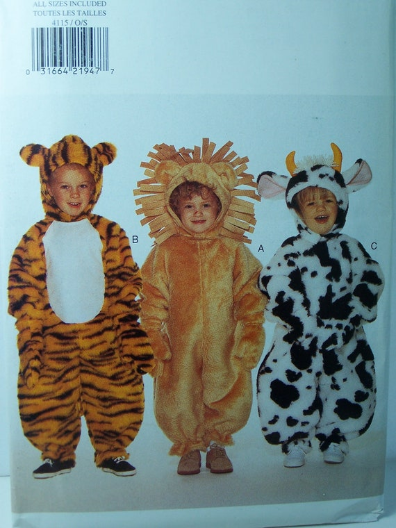 Butterick 4115 Toddler Animal Costumes - Multiple Sizes, Tiger, Lion and Cow Costumes, Dress Up