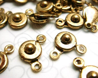 B401GA / 6sets / Diameter 7mm x 4mm - Antique Gold Plated Button-On / Snap-On Clasp Findings