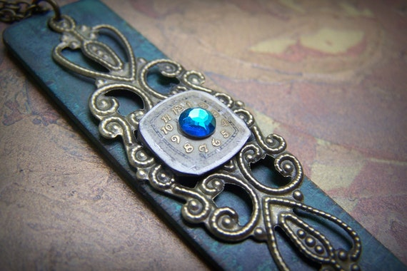 Verdigris Steampunk Ruler Necklace Vintage Watch Face Blue Green Crystal Brass Steampunk Jewelry